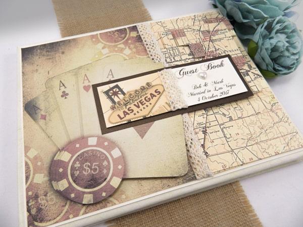 Vintage Las Vegas Themed Wedding Guest Book Journal